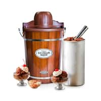 Nostalgia ICMP600WD Vintage Collection 6 qt. Wood Bucket Electric Ice Cream Maker with Easy-Clean Liner