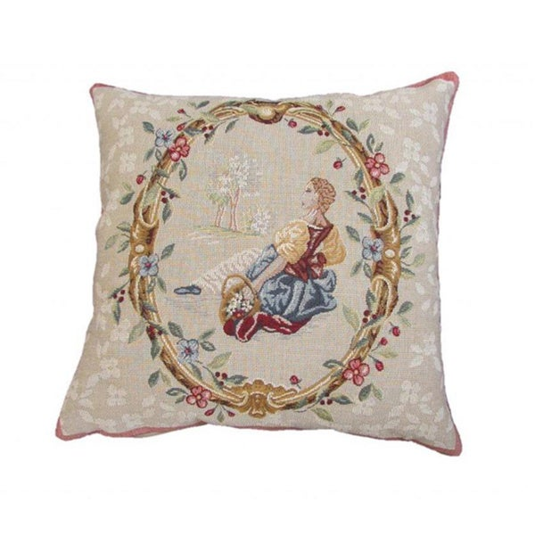 Corona Decor French Woven Floral with Lady Design Decorative Throw Pillow