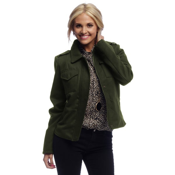 Women's Olive Green Cropped Military Jacket - Free Shipping Today ...