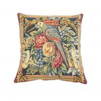 Corona Decor French Woven Parrot with Flowers and Fruit Design Decorative Throw Pillow