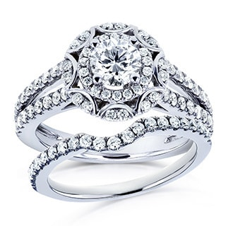 Annello by Kobelli 14k White Gold 1 1/5ct TDW Round Diamond Floral 2-piece Bridal Rings Set