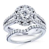 Annello by Kobelli 14k White Gold 1 1/5ct TDW Round Diamond Floral 2-piece Bridal Rings Set