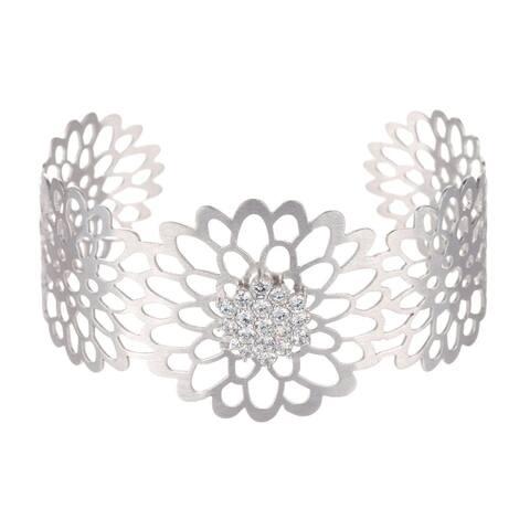 Collette Z Sterling Silver Cubic Zirconia Lace Design Cuff