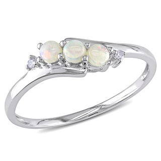Miadora 10k White Gold Opal and Diamond Accent Three Stone Ring