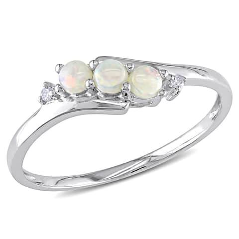 Miadora 10k White Gold Opal and Diamond Accent Three Stone Ring