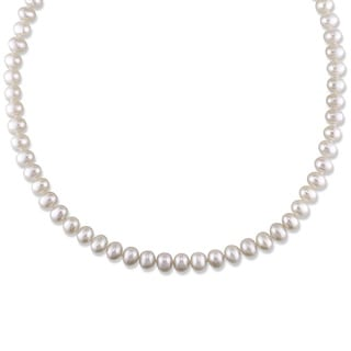 Miadora White Cultured Freshwater Pearl Endless Necklace (6.5-7 mm)