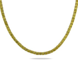 Miadora Sterling Silver Yellow Cubic Zirconia Tennis Necklace