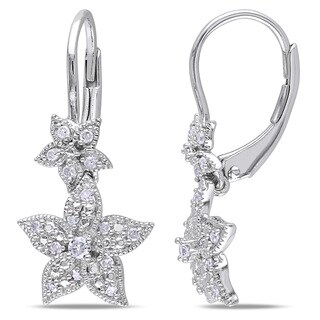 Miadora Sterling Silver 1/5ct TDW Diamond Flower Earrings