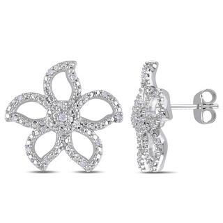 Miadora Sterling Silver 1/8ct TDW Diamond Stud Flower Earrings
