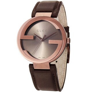Gucci Men's YA133207 'Interlocking' Brown Dial Brown Leather Strap Quartz Watch