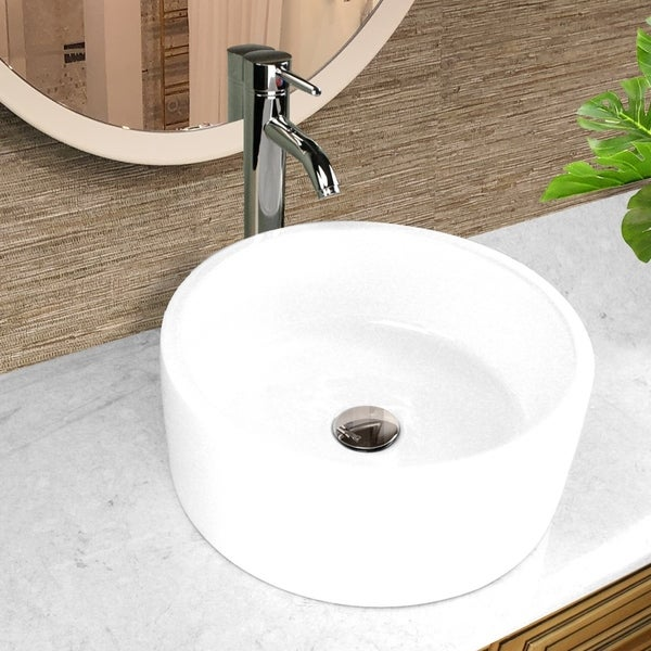 Highpoint Collection 16 inch Round White Vessel Sink with Drain. Opens flyout.