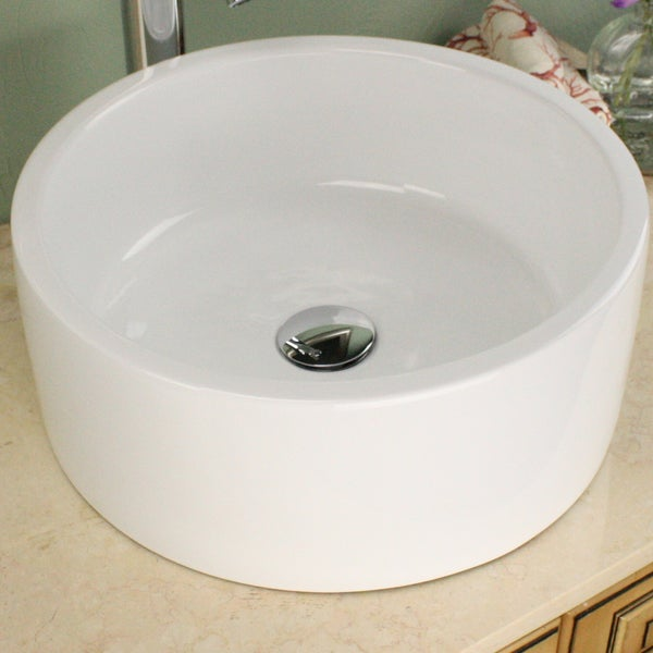 Highpoint Collection 16 inch Round White Vessel Sink with Drain - Free ...