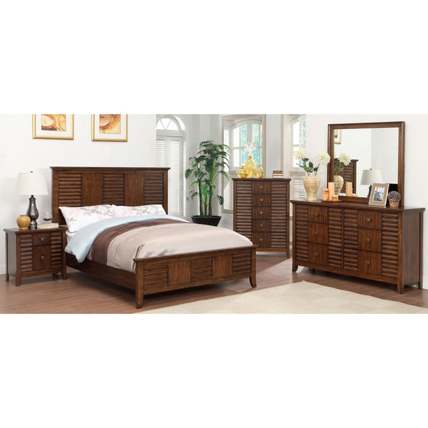 Furniture of america tyrenia 4 piece walnut finish bedroom for American black walnut bedroom furniture