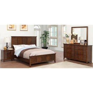 Furniture of America Tyrenia 4-Piece Walnut Finish Bedroom Set