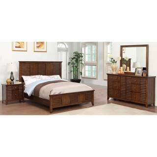 walnut bedroom set. Furniture of America Tyrenia 4 Piece Walnut Finish Bedroom Set Sets For Less  Overstock com