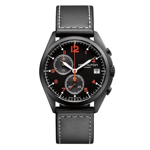 Hamilton Men's H76582733 'Pilot Pioneer' Chronograph Black Leather Watch