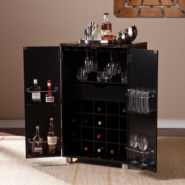 Black Home Bar Furniture: Harper Blvd Black Capeton Contemporary Bar Cabinet