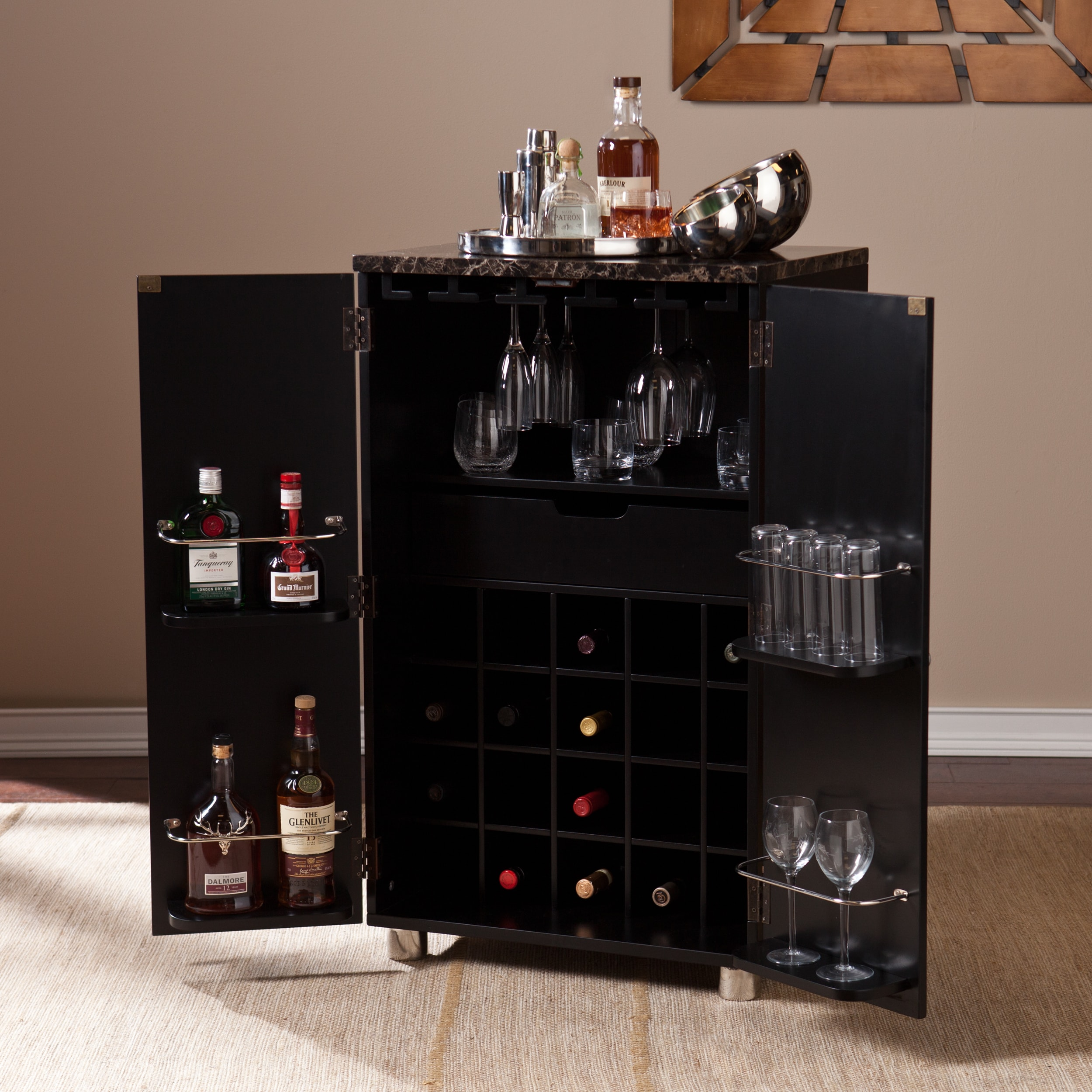 Beau Harper Blvd Black Capeton Contemporary Bar Cabinet