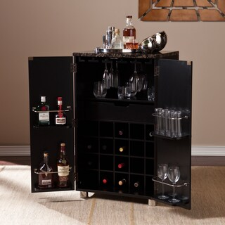 Harper Blvd Black Capeton Contemporary Bar Cabinet