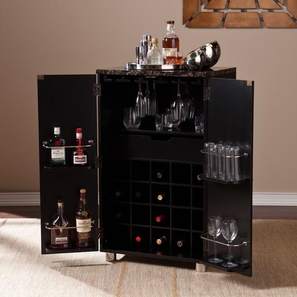Harper Blvd Black Capeton Contemporary Bar Cabinet