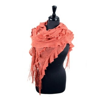 LA77 Long Knitted Ruffled Scarf