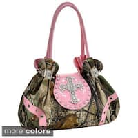 Realtree Studded Camouflage Satchel Bag with Rhinestone Cross