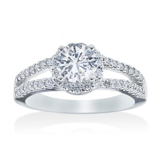 14k White Gold 3/4ct TDW Diamond Halo Engagement Ring