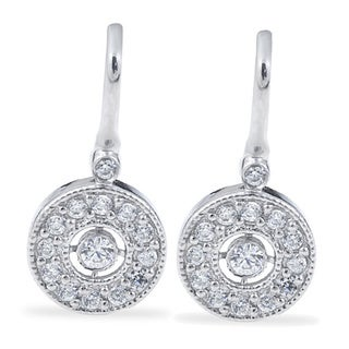 10k White Gold 3/8 ct TDW Diamond Vintage Halo Earrings (I-J, I2-I3)