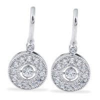 10k White Gold 3/8 ct TDW Diamond Vintage Halo Earrings