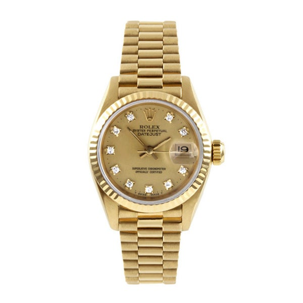 Pre-owned Rolex Women's Yellow Gold Presidential Diamond Watch