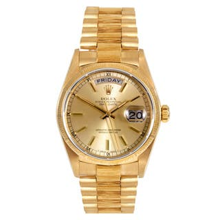 Pre-Owned Rolex Men's 18k Yellow Gold Presidential Watch|https://ak1.ostkcdn.com/images/products/9165551/Pre-owned-Rolex-Mens-18k-Yellow-Gold-Presidential-Bracelet-Watch-P16343186.jpg?impolicy=medium
