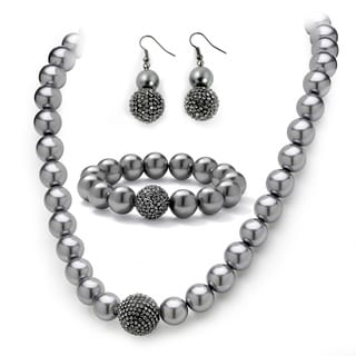 PalmBeach 3 Piece Grey Pearl and Crystal Necklace, Bracelet, Earrings Set in Black Rhodium-Plated Bold Fashion
