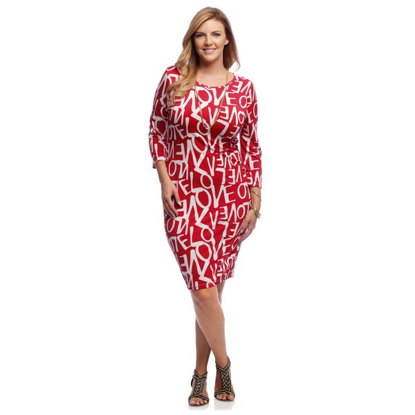 Shop A Plus Style Women\'s Plus Size Red Love Graffiti Midi ...