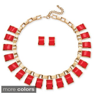 PalmBeach Salmon, Black and White or Teal Rectangle Lucite Necklace and Earrings Set in Yellow Gold Tone Bold Fashion