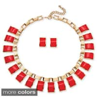 Salmon, Black and White or Teal Rectangle Lucite Necklace and Earrings Set in Yellow Gold