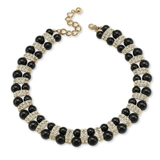 "Gold Tone Black Lucite Beaded Collar Necklace (22mm), Round Crystals, 18"" Adjustable"