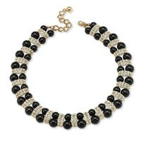 Yellow Gold Overlay Black Crystal Bead Necklace