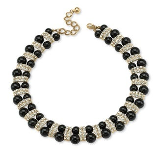 """Gold Tone Black Lucite Beaded Collar Necklace (22mm), Round Crystals, 18"""" Adjustable"""