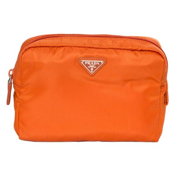 f53ae416ae Shop Prada Vela Papaya Nylon Cosmetic Pouch - Free Shipping Today ...