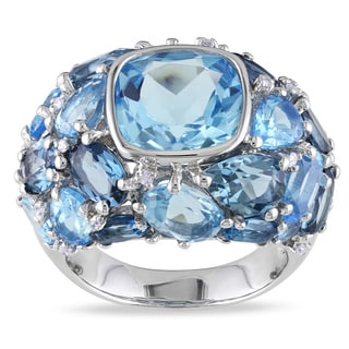 Miadora Silver Blue Topaz and 1/10ct TDW Diamond Ring (H-I, I2-I3)