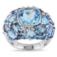 Miadora Silver Blue Topaz and 1/10ct TDW Diamond Ring (H-I, I2-I3)