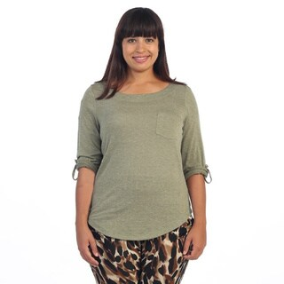 Hadari Women's Contemporary Plus Size Olive Rolled-sleeve Top