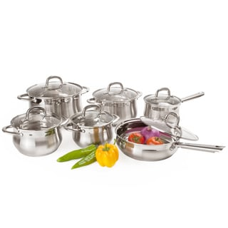 Stainless Steel 12-piece Cookware Set (Option: Stainless Steel)
