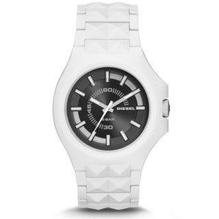 Diesel Men's DZ1645 Stud Black Dial White Bracelet Watch