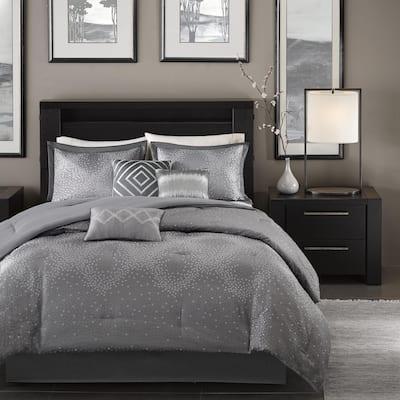 Madison Park Crawford Grey Jacquard 7-piece Comforter Set