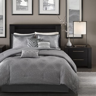 Madison Park Crawford Grey Jacquard 7-piece Comforter Set
