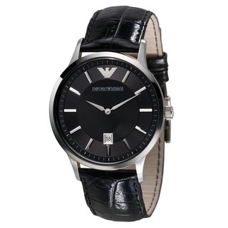 Emporio Armani Men's AR2411 Classic Renato Black Leather Watch
