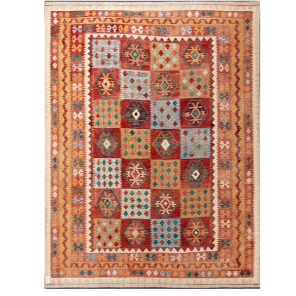 Herat Oriental Afghan Hand-woven Tribal Wool Kilim (9'7 x 12'10) - 9'7 x 12'10