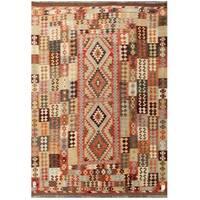 Herat Oriental Afghan Hand-woven Tribal Wool Kilim - 6'11 x 9'8