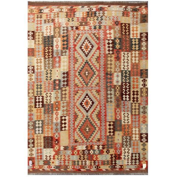 Handmade Herat Oriental Afghan Tribal Wool Kilim (Afghanistan) - 6'11 x 9'8